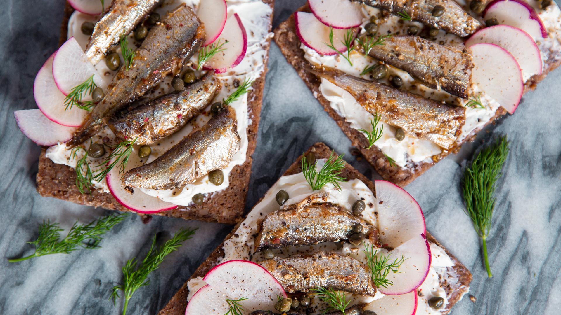 Sardines on Rye Sandwich