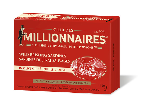 One can of Club Des Millionnaires Wild Brisling Sardines in Olive Oil