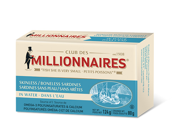 One can of Club Des Millionnaires Skinless Boneless Sardines in Water