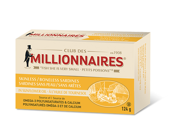 One can of Club Des Millionnaires Skinless Boneless Sardines - in Sunflower Oil