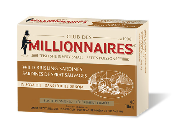 One can of Club Des Millionnaires Wild Brisling Sardines - Soya Oil