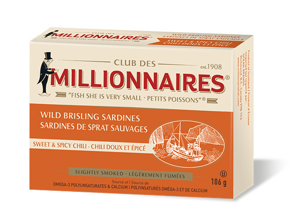 One can of Club Des Millionnaires Wild Brisling Sardines - Sweet & Spicy Chili