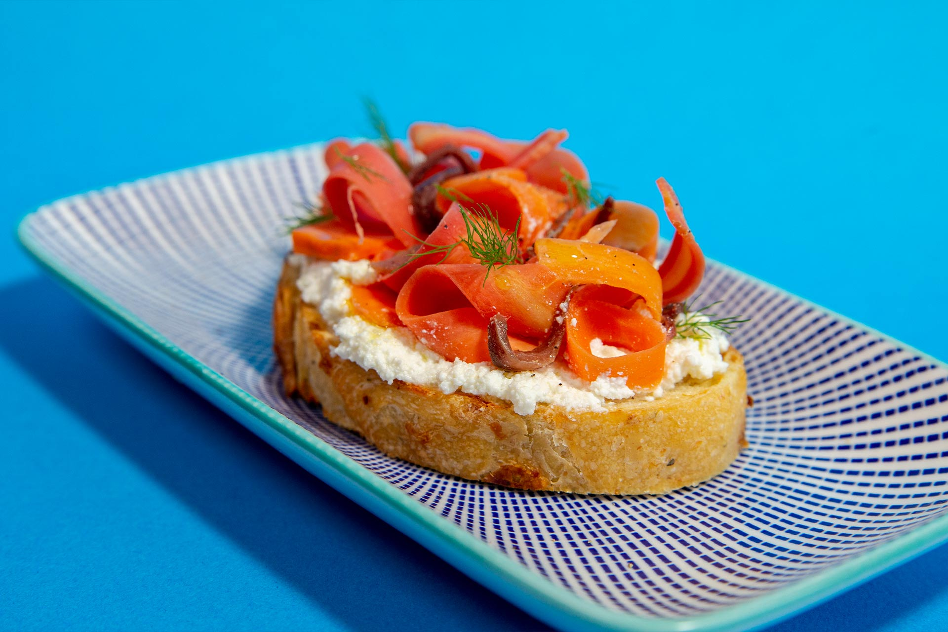 Anchovy Toast with Ricotta and Carrots