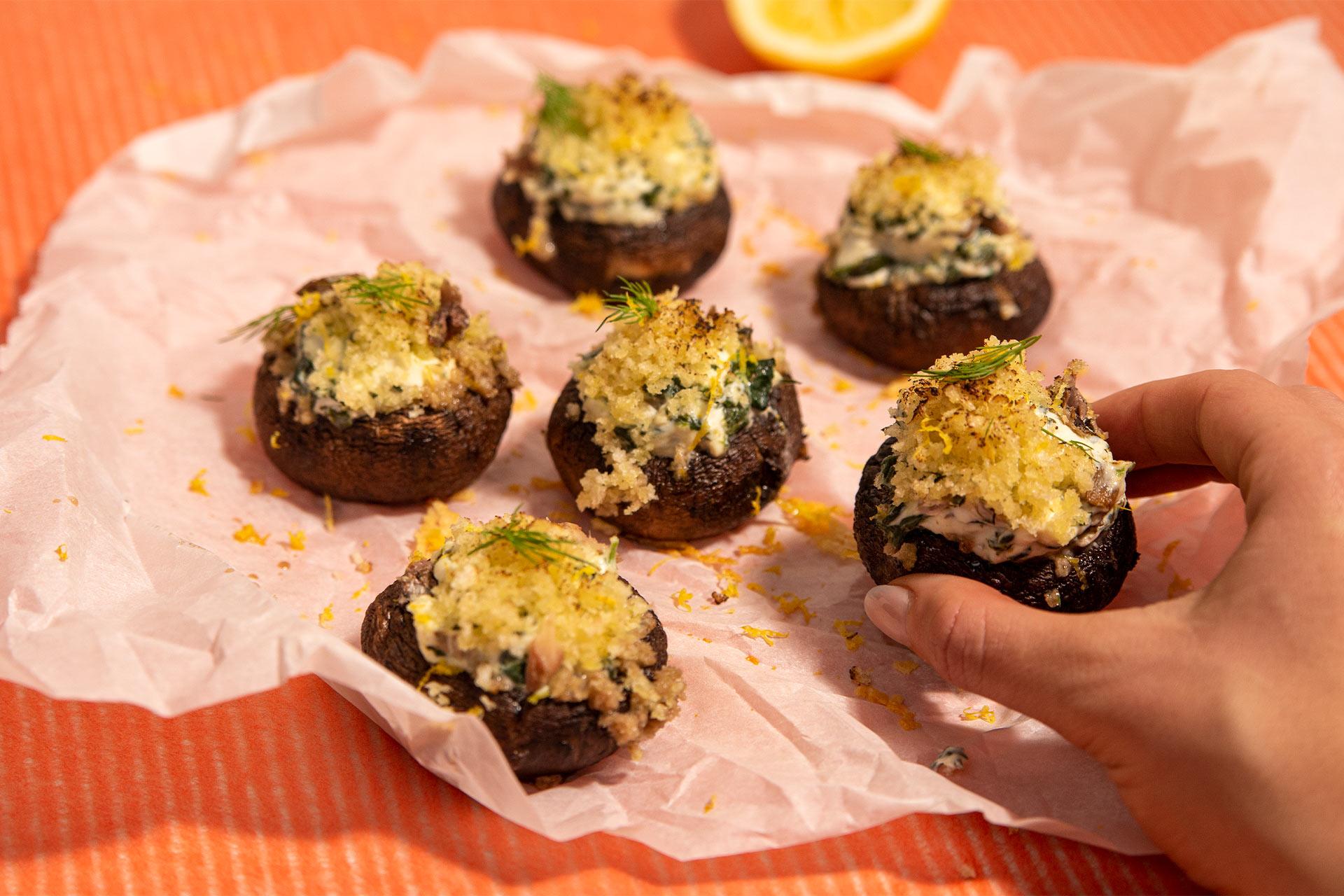Sardine Stuffed Mushrooms